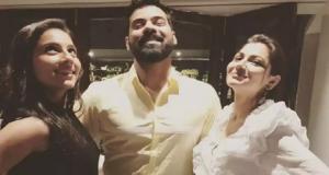 Zee TV Kumkum Bhagya lead Shabir Ahluwalia poses with Kanchi Kaul and Sriti Jha
